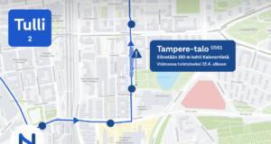 Tampere-talon pysäkki siirtyy 12. huhtikuuta. Muutos on voimassa toistaiseksi. Kuva: Tampereen seudun joukkoliikenne