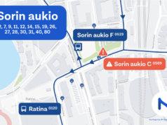 Pysäkki poistuu käytöstä työmaan takia. Se palannee käyttöön syyskuussa. Grafiikka: Tampereen seudun joukkoliikenne
