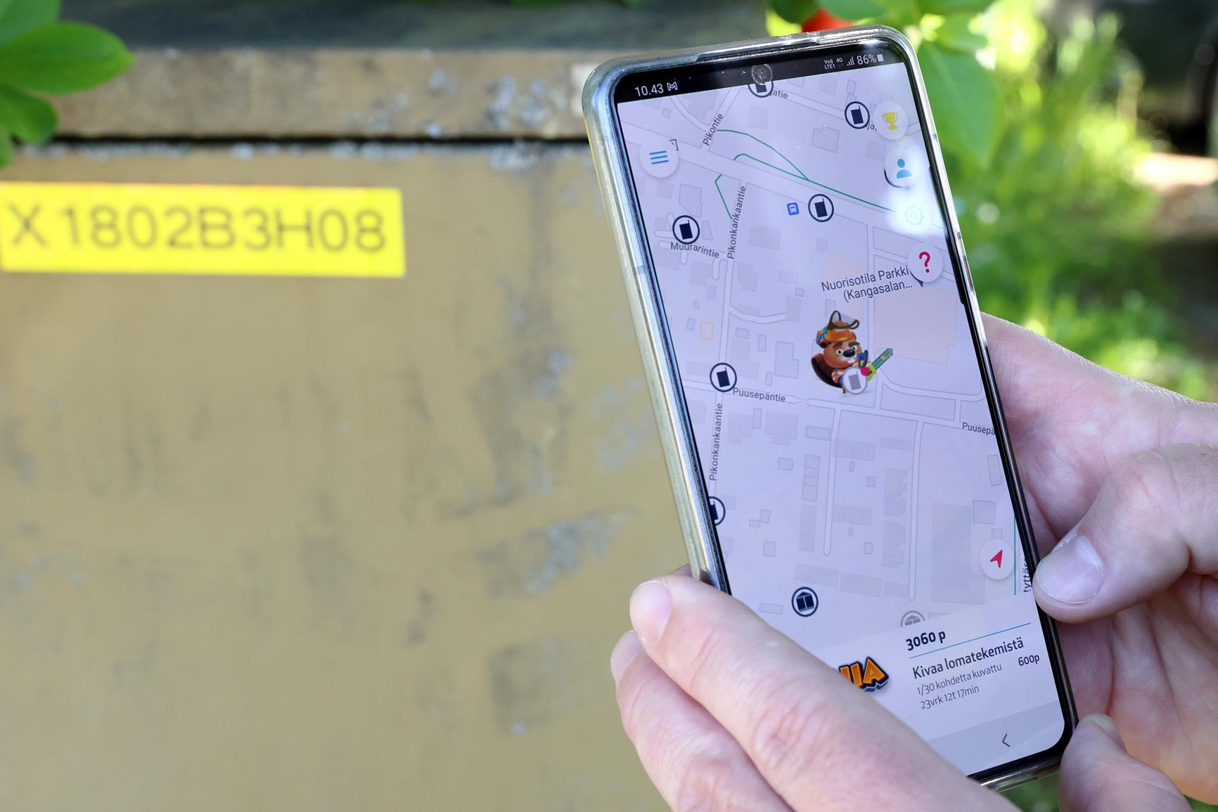 EleniaGO-sovelluksessa on kartta, jonka avulla pelaaja voi etsiä kohteita.