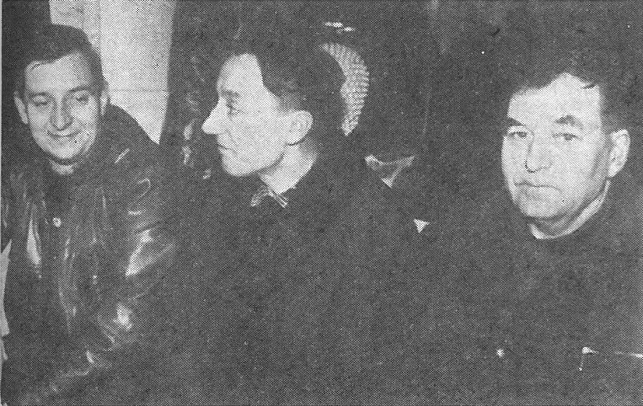 Ruutanasta tulivat junaan vas. Kauko Kuoppala, Veikko Laaksonen ja Kalle Laakso.