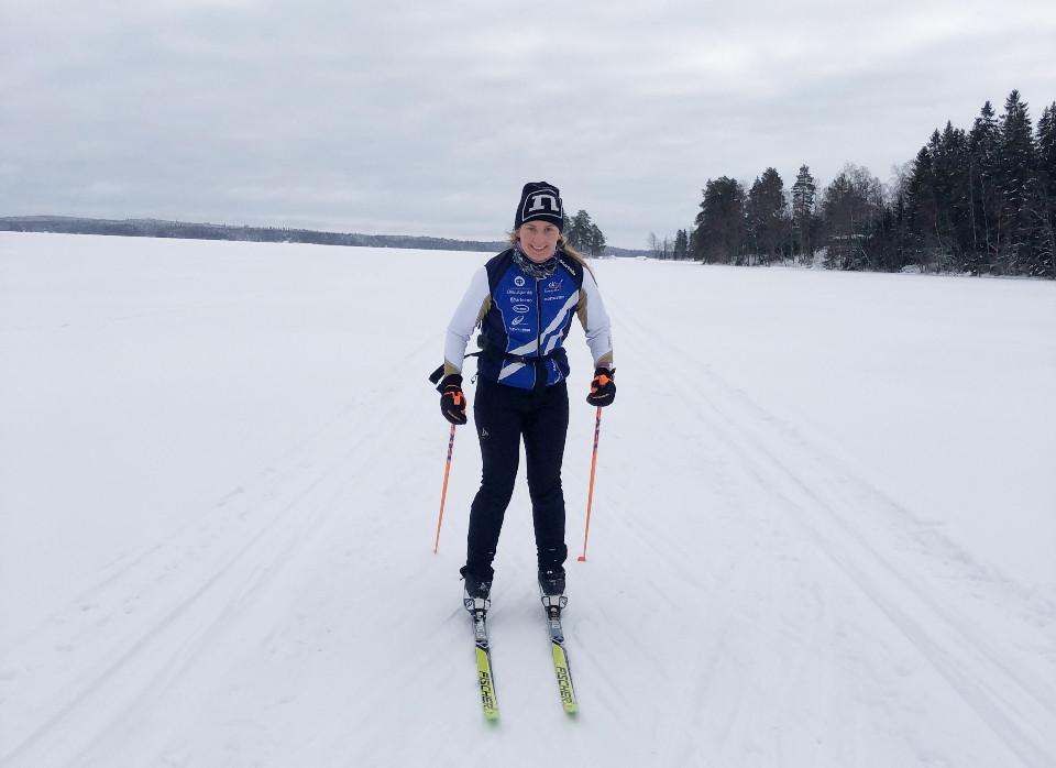 Aino Ojanen osallistui hiihtohaasteeseen hiihtämällä 53 kilometriä. Kuva: Hanna Varjus