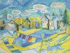 Reidar Särestöniemi: Särestön pihapiiri, 1955, öljy kovalevylle, 80 x 100 cm. Kirsi ja Keio Eerikäisen Taidesäätiö sr. Kuva: Arto Liiti