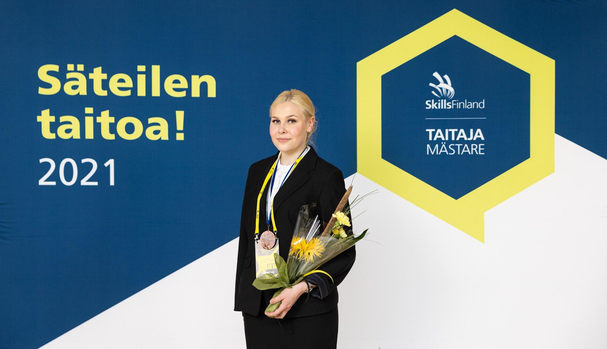 Iiris Kaukonen ylsi pronssille Taitaja2021-kilpailussa. Kuva: Sami Uusikylä / Luova Työmaa