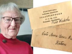 Anna-Leena Mäkelä muistaa elävästi asioita, tapahtumia sekä ihmisiä lapsuus- ja nuoruusvuosiensa Kangasalta. Hänellä on yhä tallella kutsu Kangasalan yhteiskoululla järjestettyihin iltamiin. Kuva: Eija Koivu