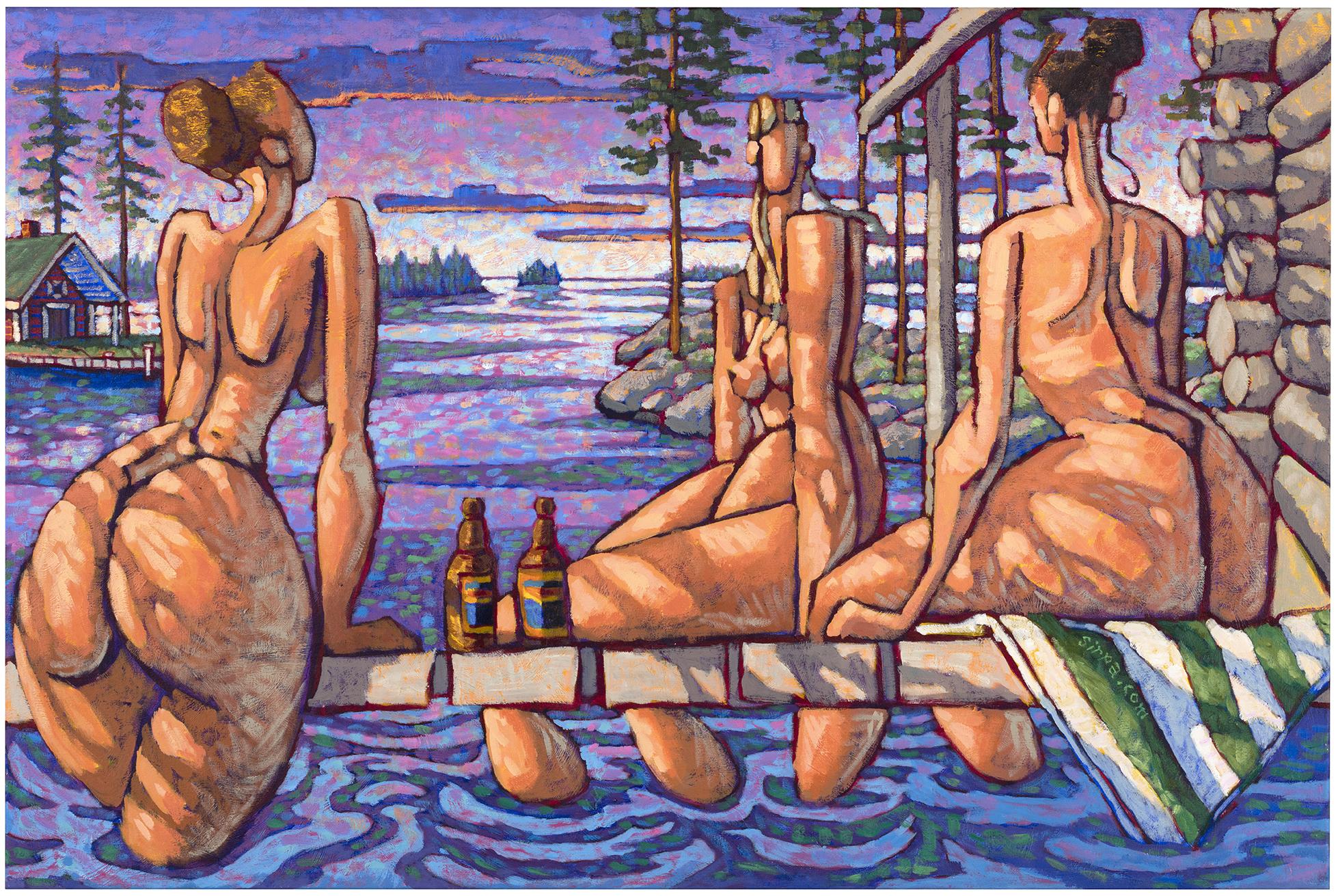Sirpa Alalääkkölän teos Saunailta vie juhannusillan tunnelmaan. Sirpa Alalääkkölä: Saunailta, 2002, akryyli kankaalle. Kuva © Jussi Tiainen / Heino Art Foundation