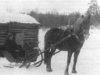 Janne Sipilä Pajulan kylältä lähdössä matkalle. Entisajan matkanteko oli hidasta ja pitkillä matkoilla viihdytettiin usein matkakumppania tarinoilla.