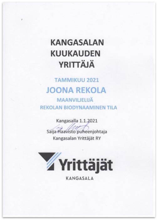 Kangasala kuukauden yrittäjä, tammikuu 2021. Joona Rekola