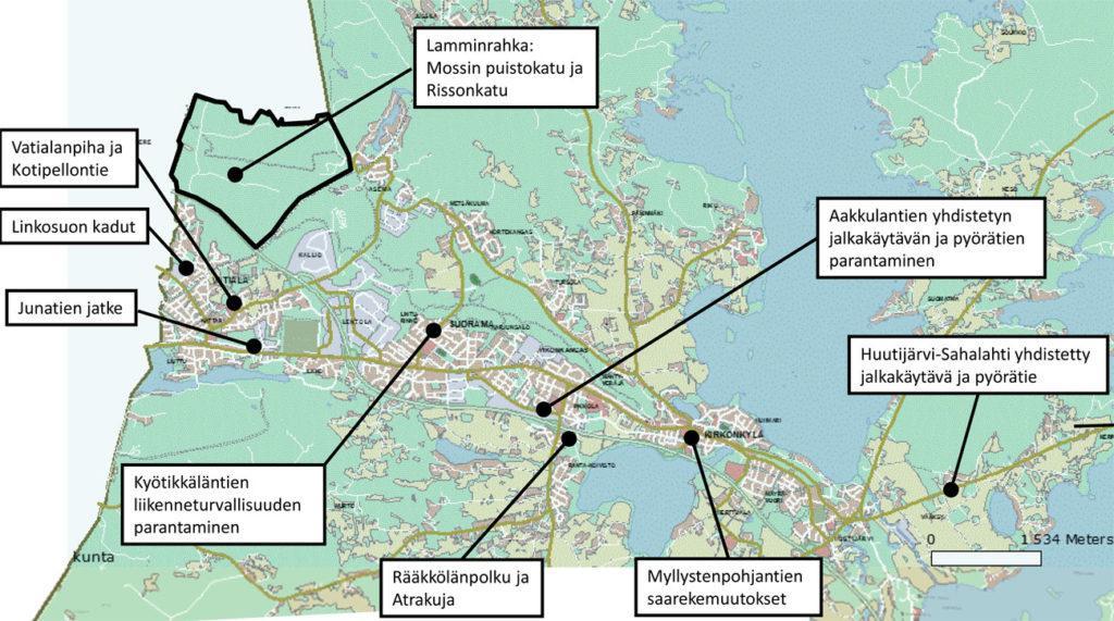 Päällystystyöt 2021 Kartta