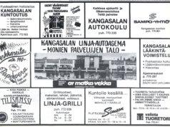 Kangasalan ainakin toistaiseksi viimeinen linja-autoasema purettiin keväällä 2018. 1980-luvulla se palveli kuntalaisia monin eri palveluin. Mainos Kangasalan Sanomista juhannuksen alla 17.6.1983.