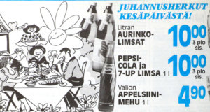 Tänään KS-juhannuskalenterissa K-market Kesäpäivän ilmoitus juhannuslehdestä 22.6.1993.