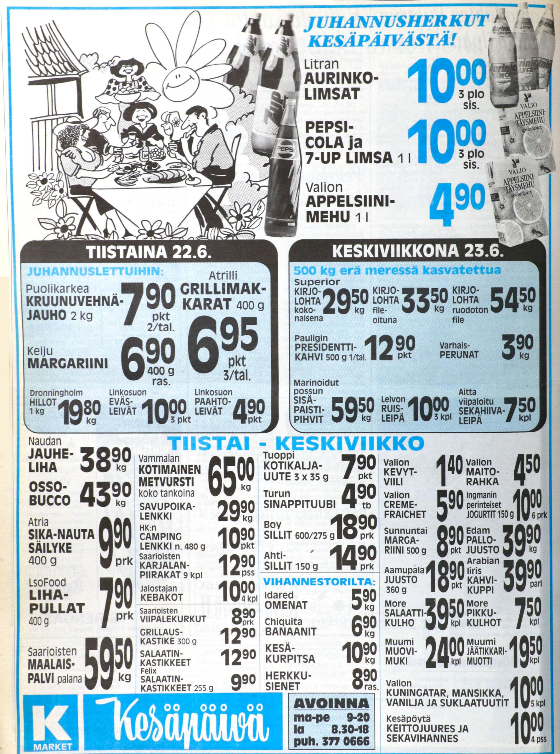 Mitäs tänä juhannuksena syötäisiin? Kesäpäivä mainosti omia juhannuseväsideoitaan lähes 30 vuotta sitten Kangasalan Sanomissa.