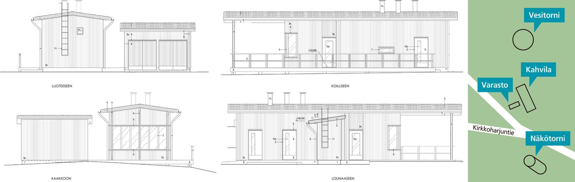 Kirkkoharjun näkötornin tuntumaan nousee 49,5 neliömetrin kokoinen kahvila, jonka yhteyteen tulee erillinen varastorakennus. Sen pinta-ala on kahdeksan neliömetriä. Kuva: Arkkitehtitoimisto Akkuna. Kartta: Pauliina Lindell