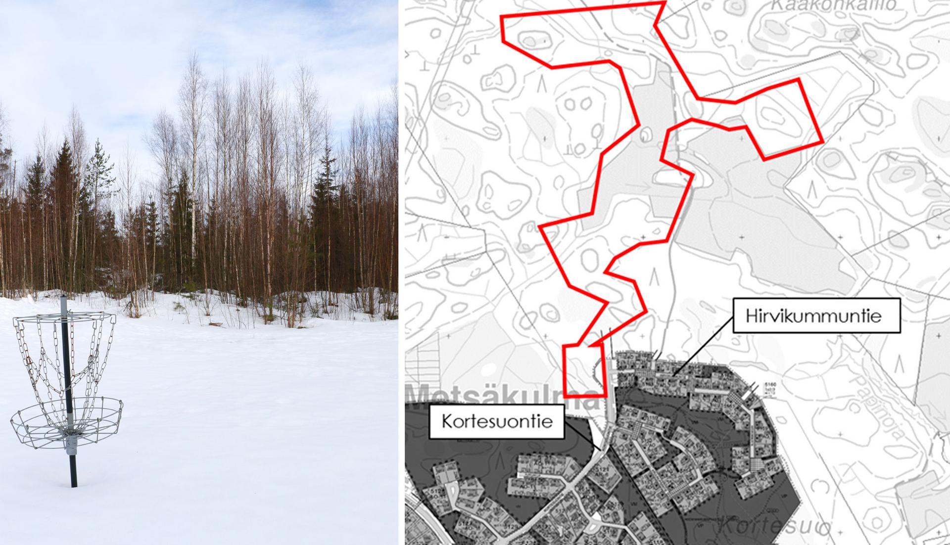 Kortekummun asuinalueen tuntumaan on tarkoitus rakentaa frisbeegolfrata. Kartta: Kangasalan kaupunki, kuva Eija Koivu