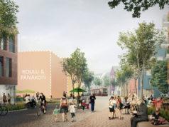 Katunäkymä tulevalta Mossin puistokadulta Lamminrahkan koulukeskuksen suuntaan. Kuva: Arkkitehtitoimisto NOAN