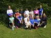 Kangasalan Kisan urheiluleirille osallistui lapsia ja nuoria useista eri jaostoista. Kuvassa myös ohjaajat Ilona Verho, Milja Rantala ja Mona Tuomainen.