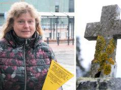 Seurakuntapuutarhuri Liisa Niemelä sanoo, että haudanhallinta-asioita määrittävät lait ja säännöt. Keltainen kyltti laitetaan haudalle, jos haudanhaltijaan ei saada yhteyttä. Kyltissä toivotaan omaisen yhteydenottoa seurakuntaan. Kuva: Tupu Sammaljärvi
