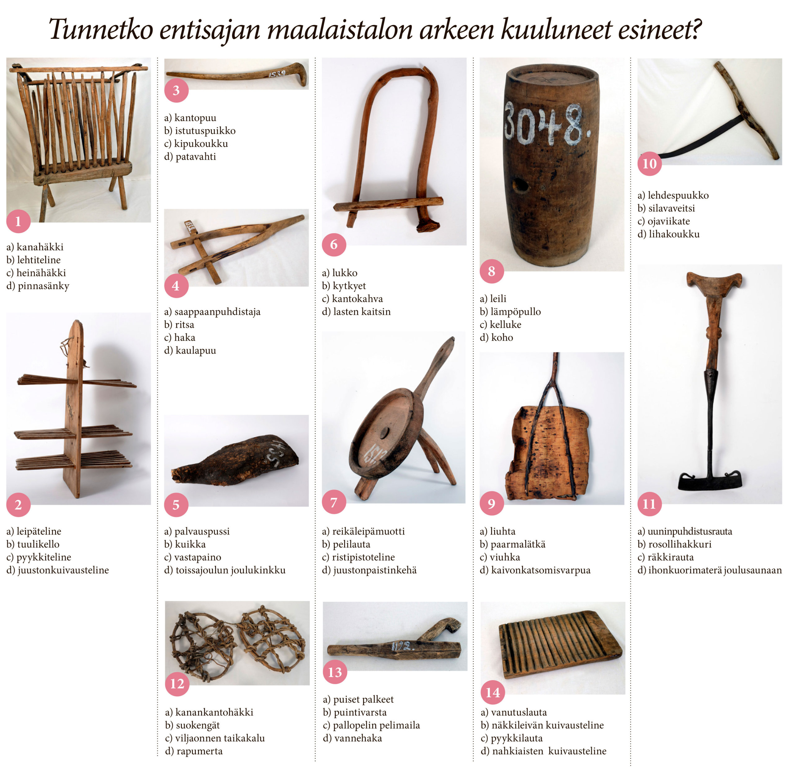 Entisaikojen työkalujen käyttötarkoitusta arvuuteltiin Kangasalan Sanomissa 2.10.2019. Tiedätkö sinä? Oikeat vastaukset julkaistaan huomisessa KS-juhannuskalenteriluukussa.