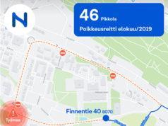 Kiertoliittymätyömaan vuoksi linjan 46 reitti muuttuu Pikkolassa.
