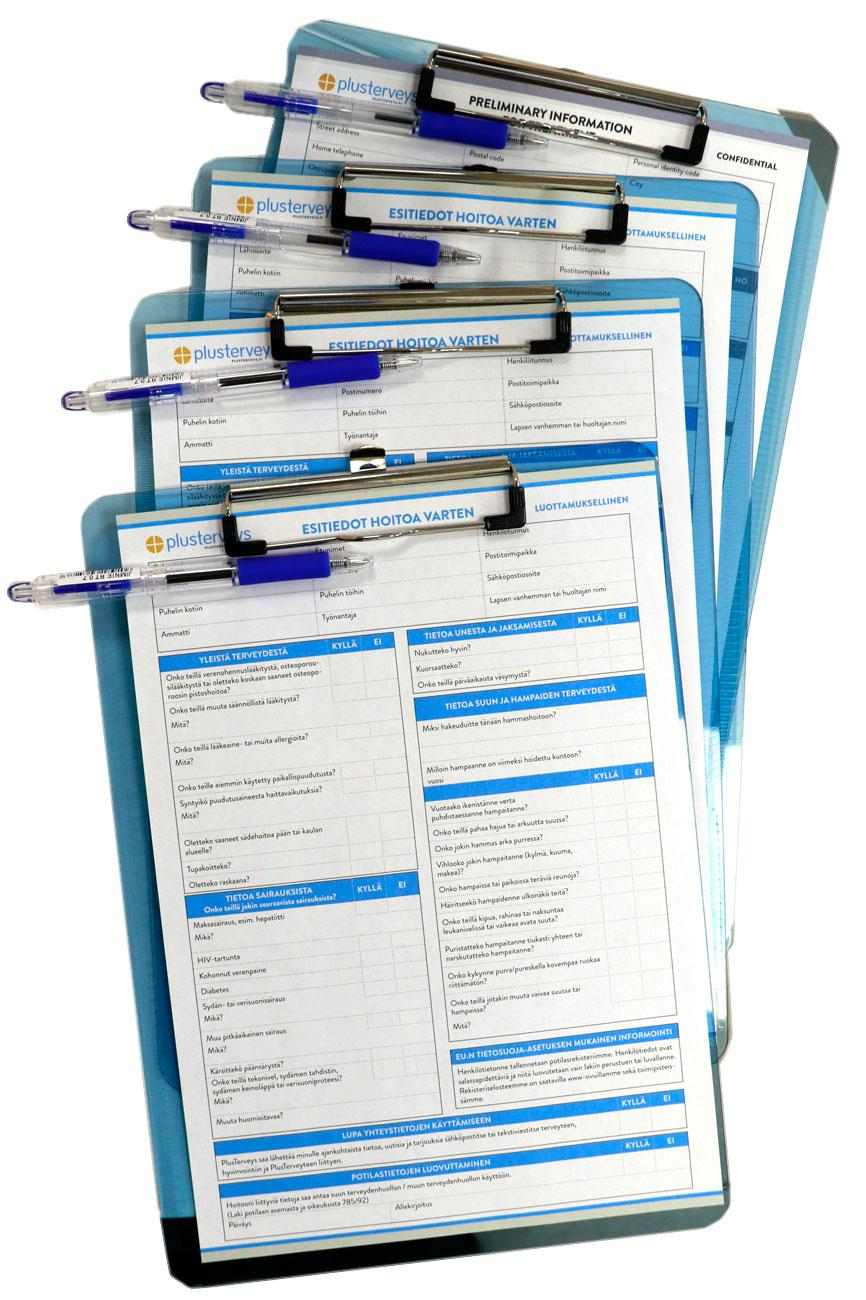 Vastaanotolle saapuva saa täytettäväkseen esitietolomakkeen, jolla kartoitetaan perustiedot sairauksista lääkityksiin.