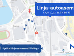 Linja-autoaseman pysäkki väistää työmaan tieltä noin 100 metrin päähän. Kuva: Tampereen seudun joukkoliikenne