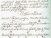 Ote maanmittari Nathan Liliuksen laatimasta pöytäkirjasta vuodelta 1815. Pöytäkirjan ovat varmentaneet allekirjoituksillaan eli puumerkeillään Sahalahden Tursolan kylän talolliset.