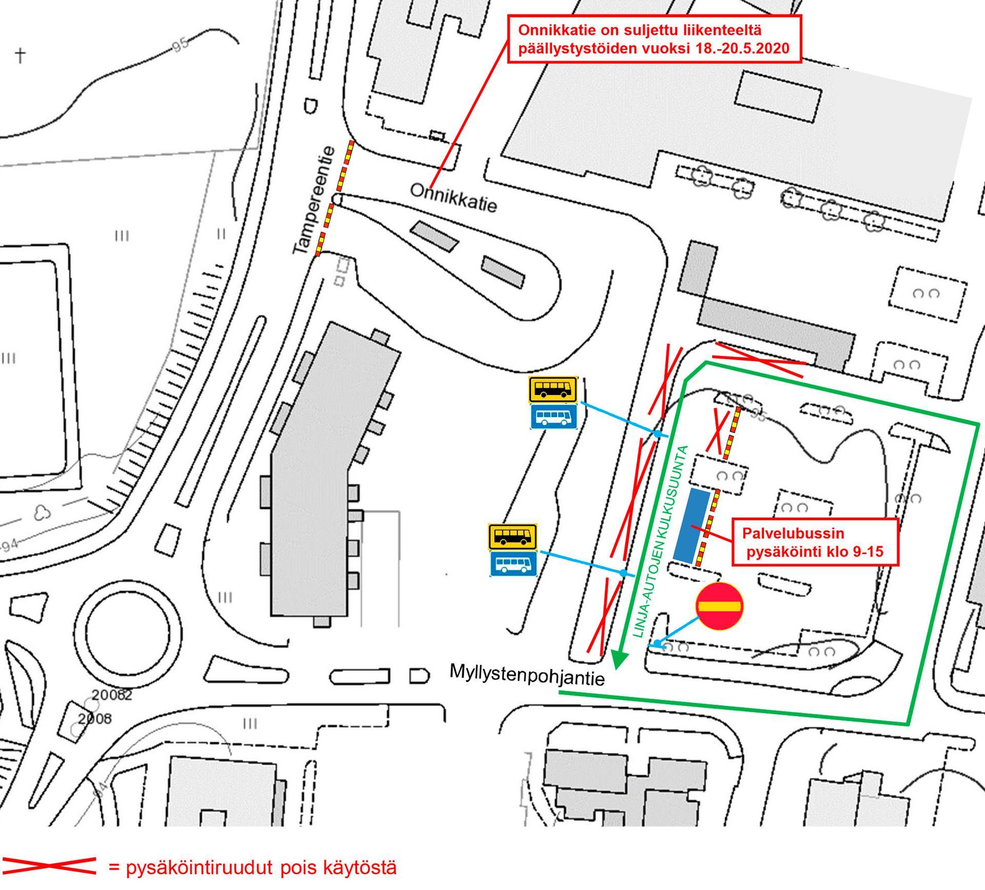 Päällystystyöt vaikuttavat ensi viikon alkupäivinä liikennöintiin ja pysäköintiin torin tuntumassa. Kartta: Kangasalan kaupunki